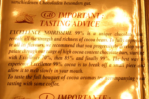 The notice about how to eat the chocolate