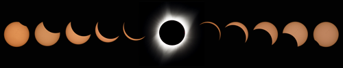 Total eclipse sequence (Photo: NASA/Aubrey Gemignani)