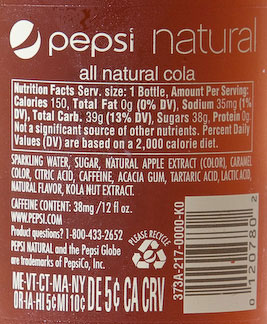 Pepsi Natural ingredients