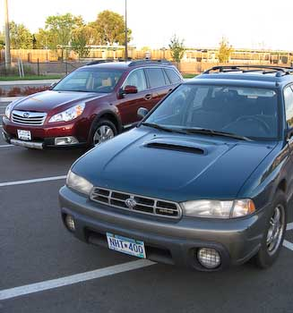 The 1998 Outback with the 2011 Outback